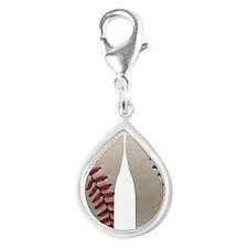 Baseball Silver Teardrop Charm