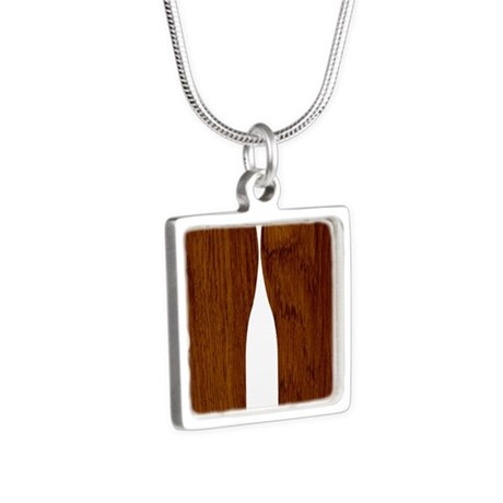 Wood Silver Square Necklace