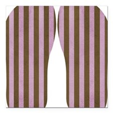 """Pink And Brown Stripe Square Car Magnet 3"""" x 3"""""""
