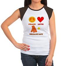 Peace Love Breakfast Women's Cap Sleeve T-Shirt
