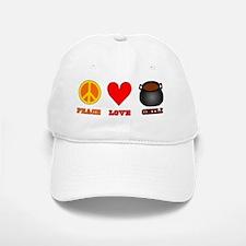 Peace Love Chili Baseball Baseball Cap