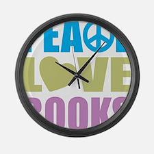 peacelovebooks Large Wall Clock