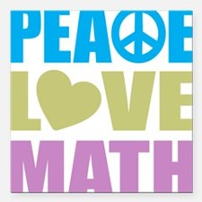 "peacelovemath Square Car Magnet 3"" x 3"""