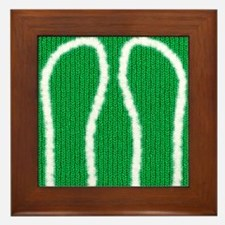 Knit_ChristmasGreen_furTrim Framed Tile