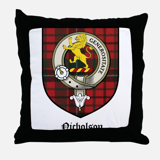 Nicholson Clan Crest Tartan Throw Pillow