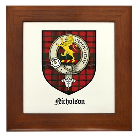 Nicholson Clan Crest Tartan Framed Tile