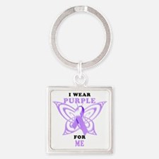 I Wear Purple for Me Square Keychain