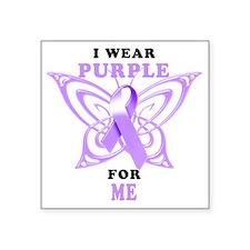 "I Wear Purple for Me Square Sticker 3"" x 3"""