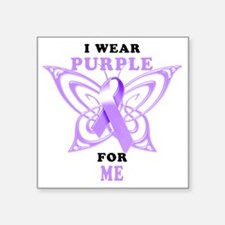 "I Wear Purple for Me Square Sticker 3"" x 3"""