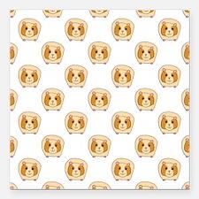 "Guinea Pig Pattern Square Car Magnet 3"" x 3"""