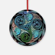 celticspiralwithblueman Round Ornament