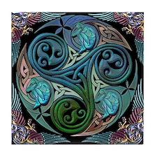 celticspiralwithblueman Tile Coaster
