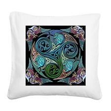 celticspiralwithblueman Square Canvas Pillow
