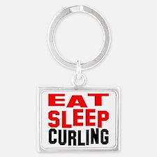 eat sleep curling w Landscape Keychain