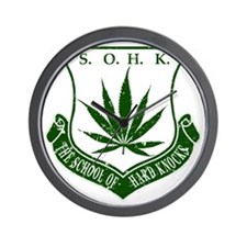 SOHK Weed Green Distressed Wall Clock