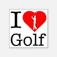 "I-Heart-Golf-2 Square Sticker 3"" x 3"""