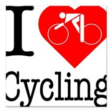 "I-Heart-Cycling Square Car Magnet 3"" x 3"""