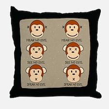 hearnoevilmonkeyflipflops Throw Pillow