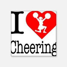 "I-Heart-Cheering Square Sticker 3"" x 3"""