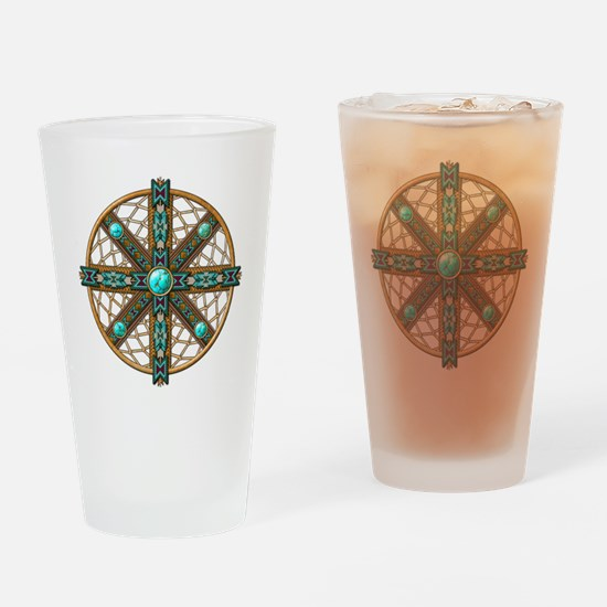 Native American Beadwork Mandala Drinking Glass