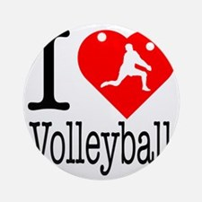 I-Heart-Volleyball Round Ornament