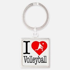 I-Heart-Volleyball Square Keychain
