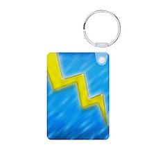 lightningboltI4slideblue Keychains