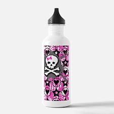 Pink Bow Skull Water Bottle