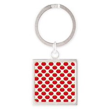 Red Tomato Pattern. Square Keychain