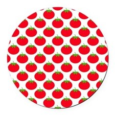 Red Tomato Pattern. Round Car Magnet