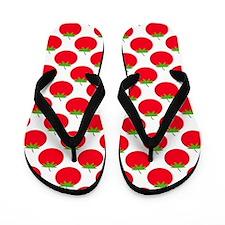 Red Tomato Pattern. Flip Flops