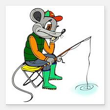 "Fishing Mouse Square Car Magnet 3"" x 3"""