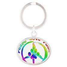 Peace Love Paws Oval Keychain