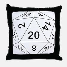 d20_black Throw Pillow