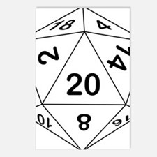 d20_black Postcards (Package of 8)