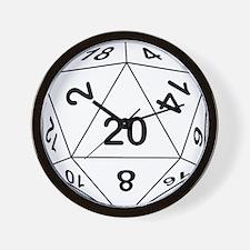 d20_black Wall Clock