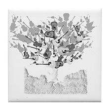 guitar tree white Tile Coaster