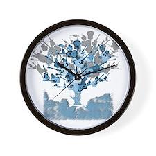 guitar tree red Wall Clock