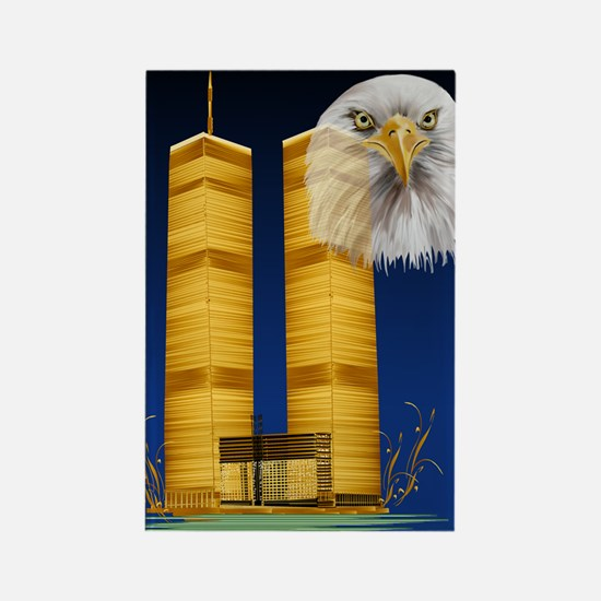 Golden Twin Towers and Eagle Post Rectangle Magnet