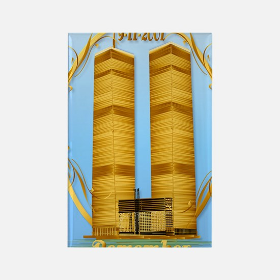 LargePosterGold Twin Towers lette Rectangle Magnet
