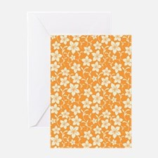 Orange Hibiscus Flower Greeting Card