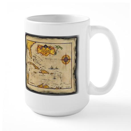 1655 Pirates themed Map of the Caribbean LargeMug