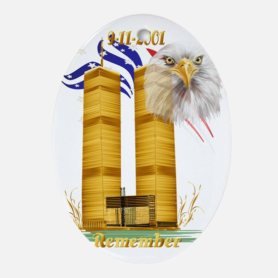 Golden Twin Towers and Eagle-Flag Tr Oval Ornament