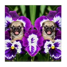 flip flops pug Tile Coaster