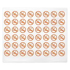 No Smoking Pattern orange on White King Duvet