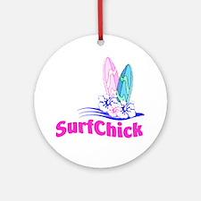SurfChick Board Ornament (Round)