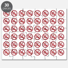 No Smoking Pattern red on White Puzzle