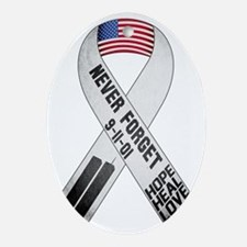 911-Ribbon-Sticker Oval Ornament