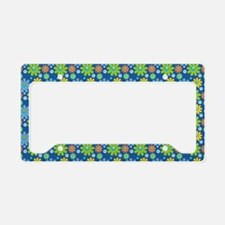 Blue Retro Flowers Beach License Plate Holder