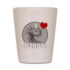 I Love Dragons Shot Glass